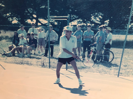 David Stevens playing tennis at GGS 30 years ago